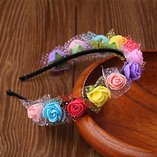 Colorful Rose Flower Crown Headband Wedding Garland Floral Hairband Accessories