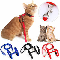 Pet Cat Puppy Adjustable Harness Collar Nylon Leash Lead Safety Walking Rope US