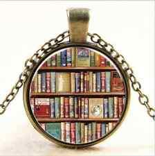 Vintage books Cabochon bronze Glass Chain Pendant Necklace
