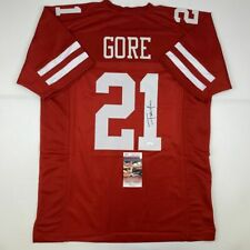 Autographed/Signed FRANK GORE San Francisco Red Football Jersey JSA COA Auto