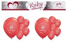 RUBY ANNIVERSARY  PARTY PACK DECORATIONS BANNER BALLOONS CP.R.2)