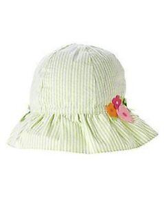 GYMBOREE IN FULL BLOOM GREEN SEERSUCKER w/ FLOWERS SUN HAT 0 3 6 12  NWT
