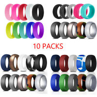 10 Packs Flexible Silicone Wedding Ring Set Men Women Sport Rubber Bands 4-11#