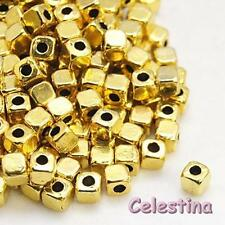 50 4mm gold tone cube spacer beads-carré perles lf cf nf-golden alliage carrés