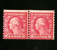 US Stamps # 492 F Line pair OG NH Scott Value $115.00