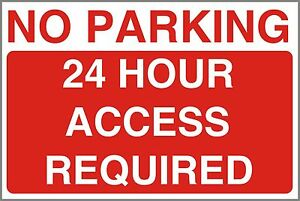 Pack 2 No Parking 24 Hour Access Sign Stickers Garage Drive Entrance FREE POST!
