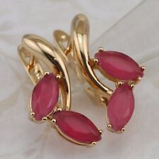 Magic Nice Ruby Red Gems Jewelry Yellow Gold Filled Woman Huggie Earrings h2969