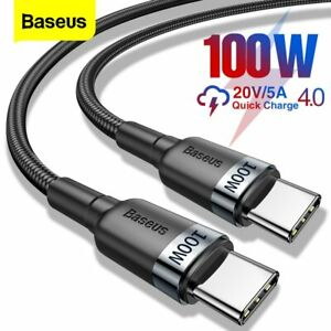 Baseus 100W USB Type C to Type C Charger Cable QC3.0 PD Quick Charge Lead Cord