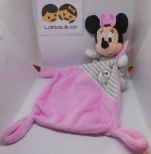 DOUDOU PELUCHE NICOTOY Disney MINNIE avec CARRE PLAT ROSE RAYE ABCD 35 cm -D431