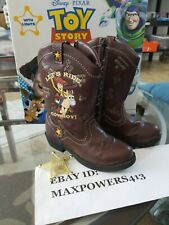 Disney Pixar Toy Story Woody Let's Ride Cowboy Boots Zip Light Up Kids Boys SZ 9
