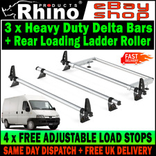 Peugeot Boxer Roof Rack Bars x3 Rhino With Rear Roller For HIGH-H2 1995-2006 Van