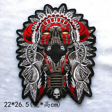 Embroidery Patches for Jacket Motorcycle Biker Skull Indian Chief PU leather