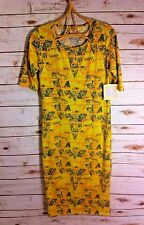 NEW NWT LULAROE Womens Mustard Yellow Tribal Geometric 'Julia' Dress Unicorn S