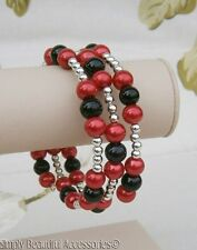 Pretty Red Black Glass Pearl Beads Memory Wire Bracelet Cuff Handcrafted