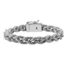 "Sterling Silver nickel free braided Tulang Naga bracelet 7.5"", 27 G"
