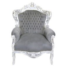 ARMCHAIR BAROQUE STYLE SILVER / GREY  # F30MB140