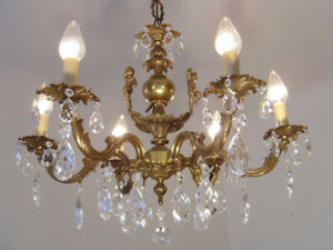 "SMALL BRASS CRYSTAL CHERUBS CHANDELIER VINTAGE LAMP CLASSIC 6 LIGHT  Ø 24"""