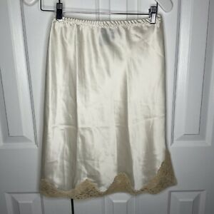 Donna Karan Intimates Ivory 100% Silk Lace Skirt Slip Small