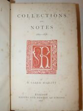 BIBLIOGRAFIA - Carew Hazlitt: COLLECTIONS AND NOTES 1867-1876 London  + Lettera