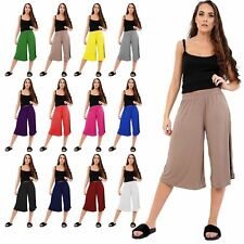 LADIES WOMENS ELASTICATED WAIST THREE QUARTER 3/4 WIDE CROPPED PANTS TROUSERS