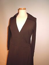WITCHERY BROWN STRETCHY WRAP DRESS 3/4 SLEEVE SIZE 12 EUC