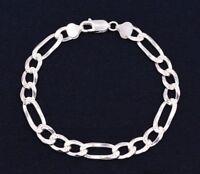 8mm Italian Figaro Pave Diamond Cut Link Chain Bracelet Real Sterling Silver 925