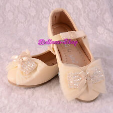 Crystal Beads Ballet Slipper Ivory Shoes US Size 9-1.5 EU 25-32 Wedding GS015