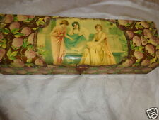 ANTIQUE VICTORIAN CELLULOID MAIDENS LAVENDER LILACS FLORAL GLOVE DRESSER BOX