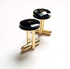 Swarovski Jet Black Crystal Cufflinks-Handmade by NY Designer-Holiday Gift-Party
