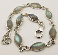 """.925 Silver MARQUISE Cabochon LABRADORITE Bracelet 7.9"""" NEW CHRISTMAS DAY"""