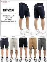 KAYDEN.K Men's Selvedge Tape Roll Up Relax Fit Raw Denim Shorts Size 30 - 40