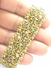 Gubelin 18Kt Gem Emerald Sapphire Diamond Yellow Gold WIDE Bracelet 2.40CT