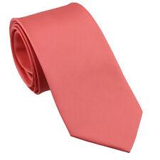 Coachella Tie Plain Peach Coral Pink Solid Color Necktie Microfiber Neck Tie 8.5