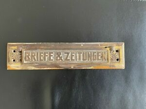 Briefkastenschlitz, Briefkastenklappe Messing antik, Art déco, Vintage