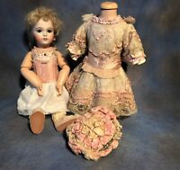 Antique ONE OF A KIND Exquisite French Couture Dress And Bonnet BRU Doll.
