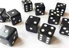 10 x BLACK LARGE CASINO STYLE Six Sided Dice 19mm Craps - FREE SHIPPING