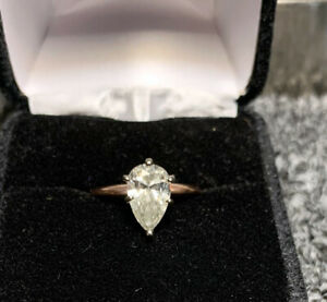 14k Rose Gold Pear-shaped 1.59 Carat Diamond Solitaire Engagement Ring