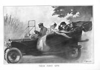 ANTIQUE AUTOMOBILE YOUNG COUPLE TAKING THE ELDERLY PARENTS FOR THEIR FIRST SPIN