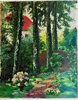 Grand tableau, fleurs dans un jardin et maison, huile sur toile