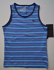 HURLEY Little Boys Size 6 Striped Tank Top Casual Cotton Shirt Fountain Blue NWT