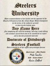 PITTSBURGH STEELERS NFL FAN ~CERTIFICATE~DIPLOMA ~MAN CAVE~OFFICE #1 FAN GIFT