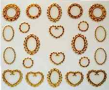 3D Nail Art Decals Transfer Stickers Gold Colour Hearts Ovals (3D6009)