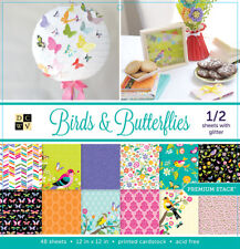 "American Crafts Dcwv 12"" x 12"" Birds Butterflies Cardstock Sheets Paper Crafting"