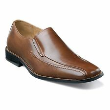 Stacy Adams Mens Cognac Hillman Formal Dress Slip On Leather Loafer Trendy Shoe