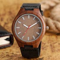 Casual Nature Wood Bamboo Black Genuine Leather Band Men Quartz Wrist Watch Gift