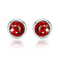 2 ct. Bezel Set Ruby Stud Earrings in Solid Sterling Silver