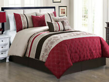 7-Pc Marquise Floral Paisley Quilted Comforter Set Burgundy Brown Beige Queen