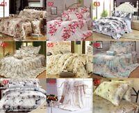 100% Seide Bettwäsche 2x Kissenbezüge+ 2x Bettbezug 4-tlg Bedruckte Blume BYH004