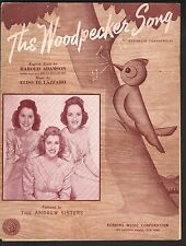 Woodpecker Song 1940 Andrews Sisters Sheet Music