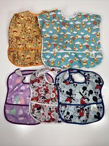 Disney Bibs Pooh Mickey Minnie Tinkerbell Lot of 5